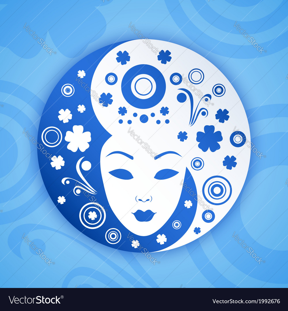 Ying yang symbol with woman face