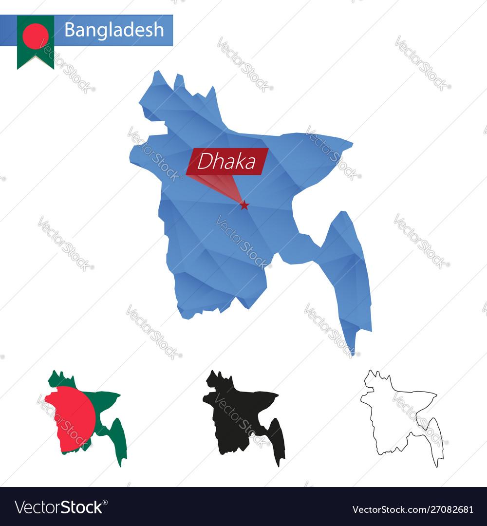 Bangladesh blue low poly map with capital dhaka