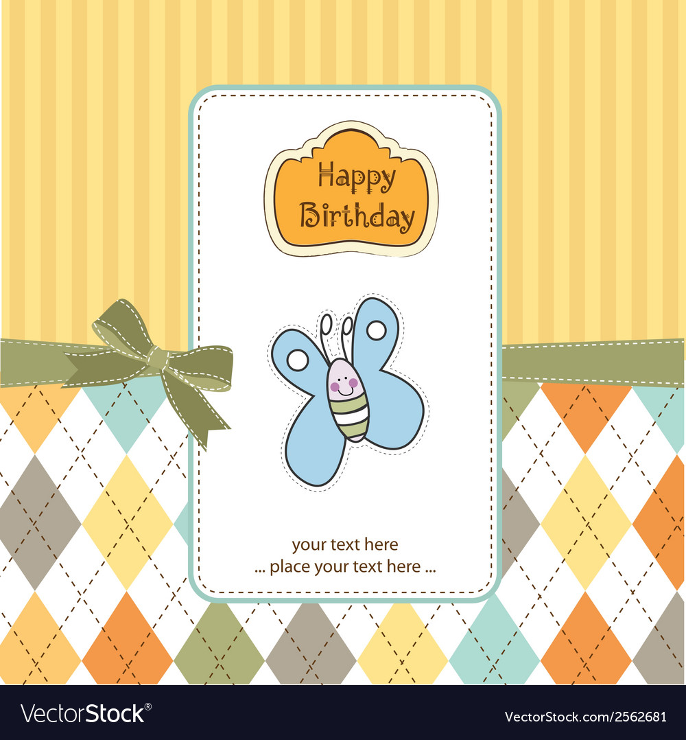 Cute Baby Shower Card With Butterfly Royalty Free Vector