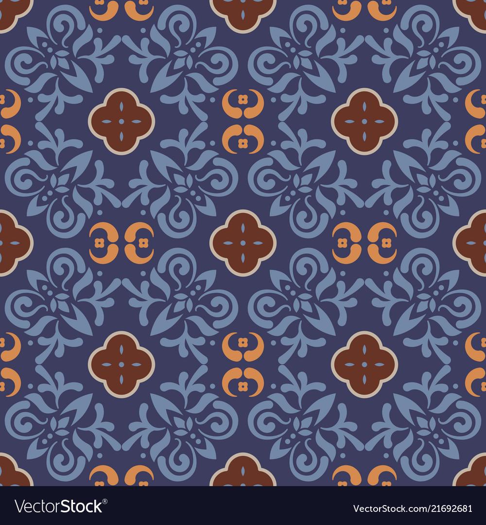 Dark blue floor tiles ornament pattern