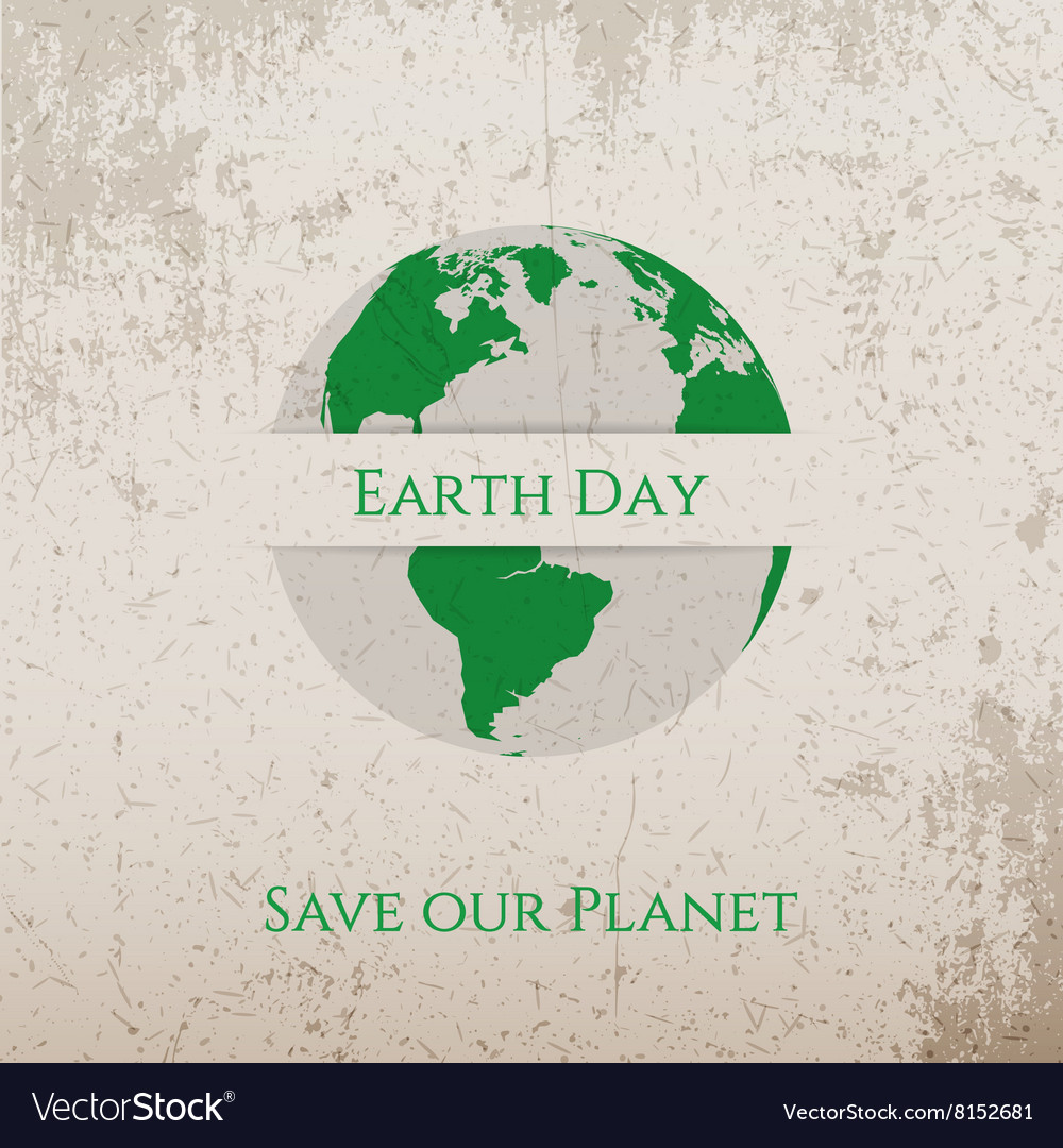 Earth Day green Print on Concrete Banner Template