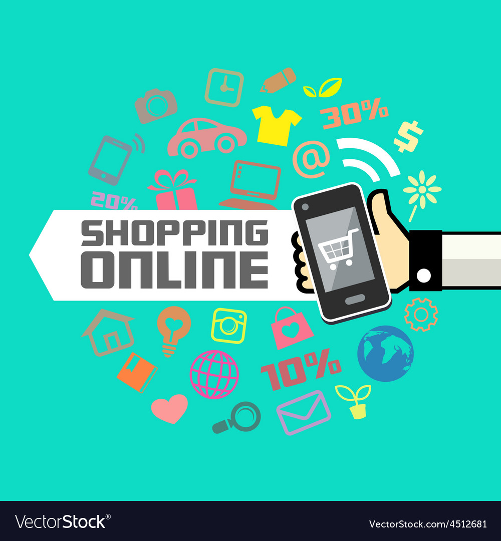 Mobile in human hand online shopping