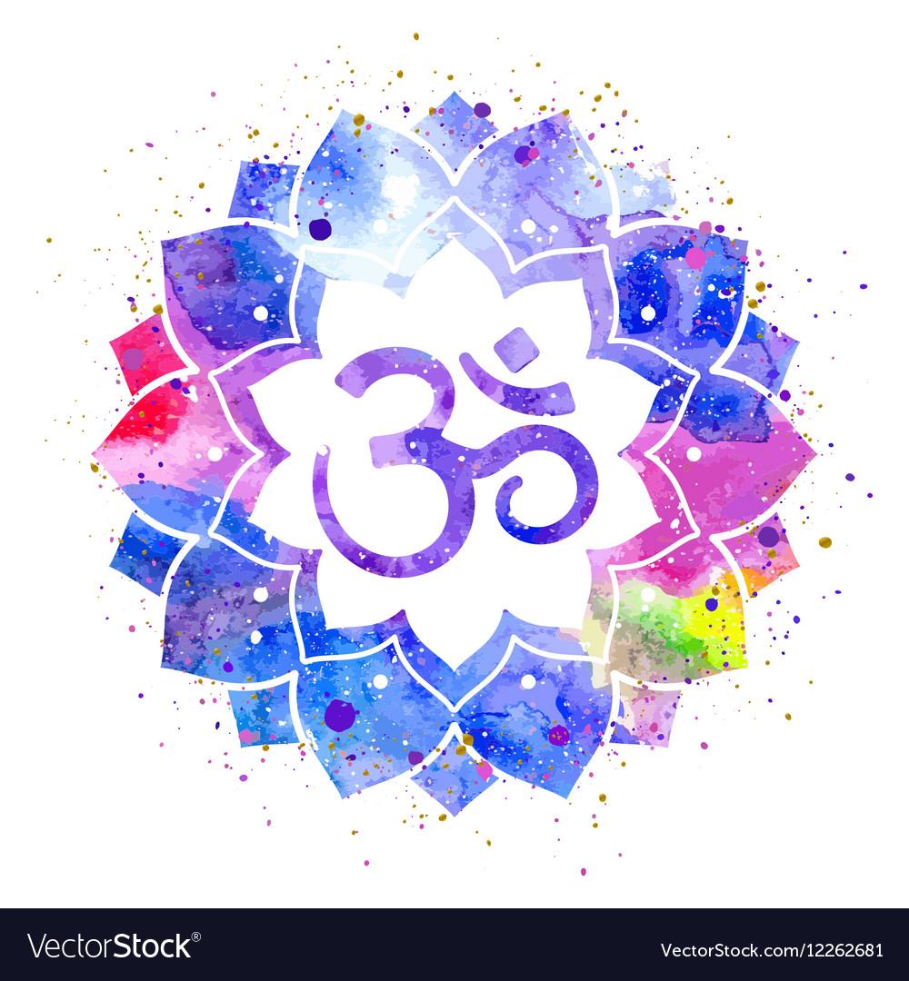 Om sign in lotus flower royalty free vector image om sign in lotus flower vector image mightylinksfo