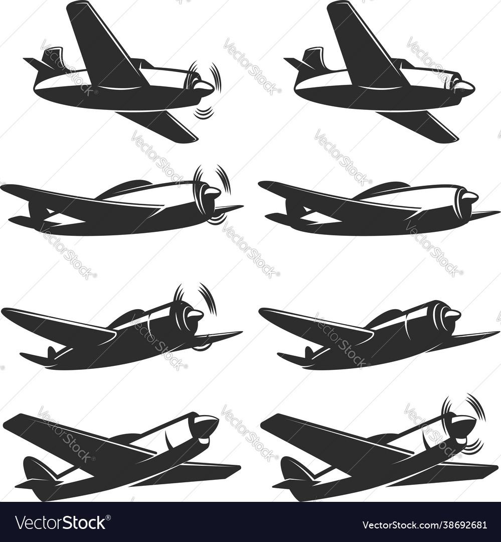 Set retro airplane icons design element