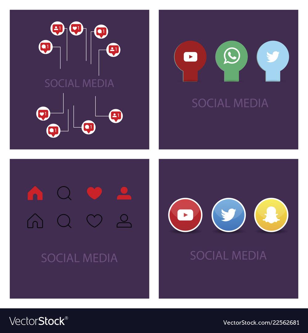 Social media icons facebook icon instagram icon vector image on VectorStock
