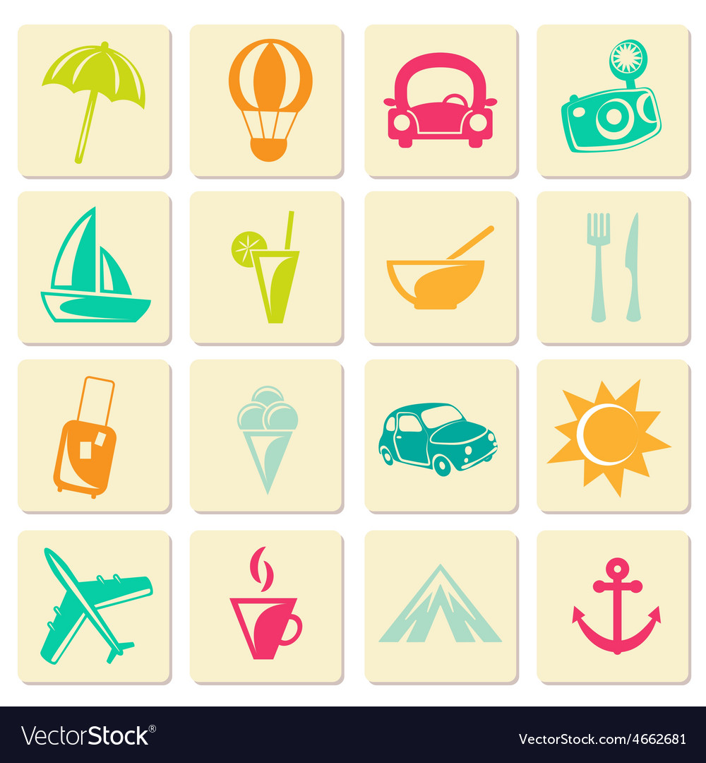 Travel summer icons