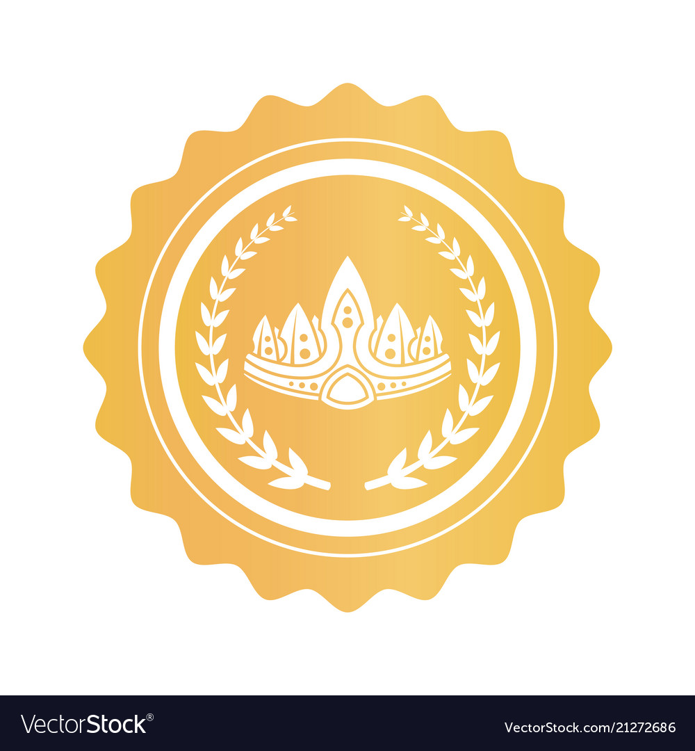 Ancient crown between laurel branches on gold seal
