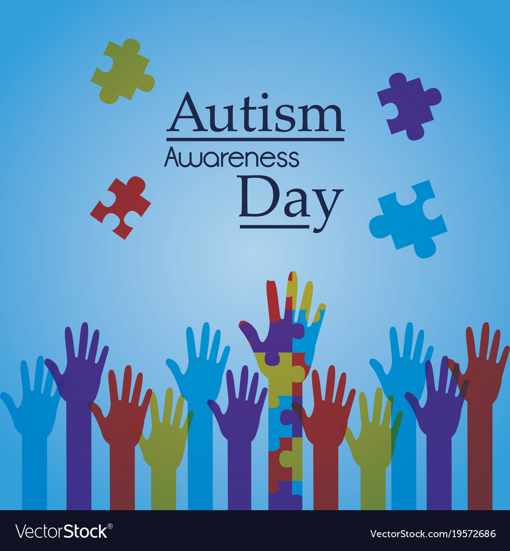 Autism awareness day poster creative campaign Vector Image