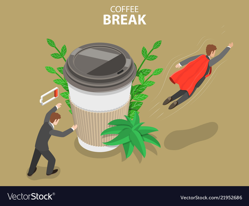 Coffee break flat isometric conceptual