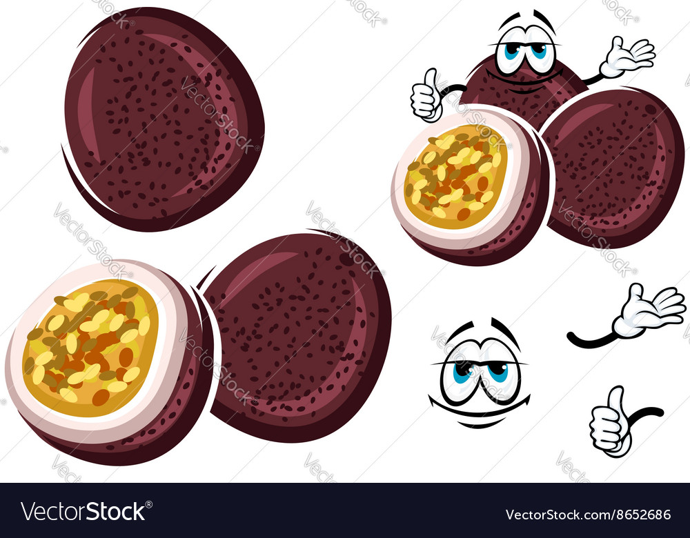 Exotic brazilian passion fruit cartoon character vector image