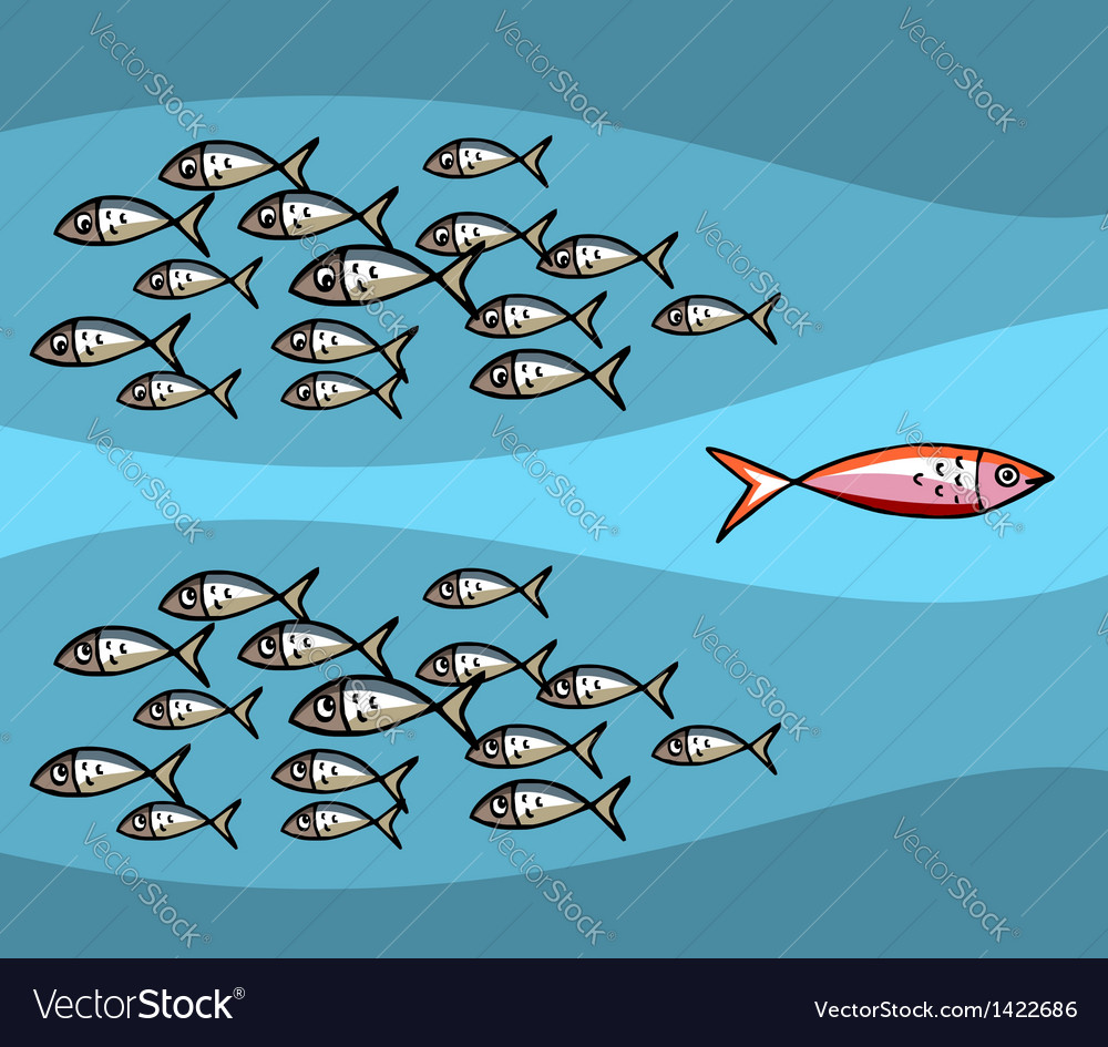 Fish Against The Tide vector image