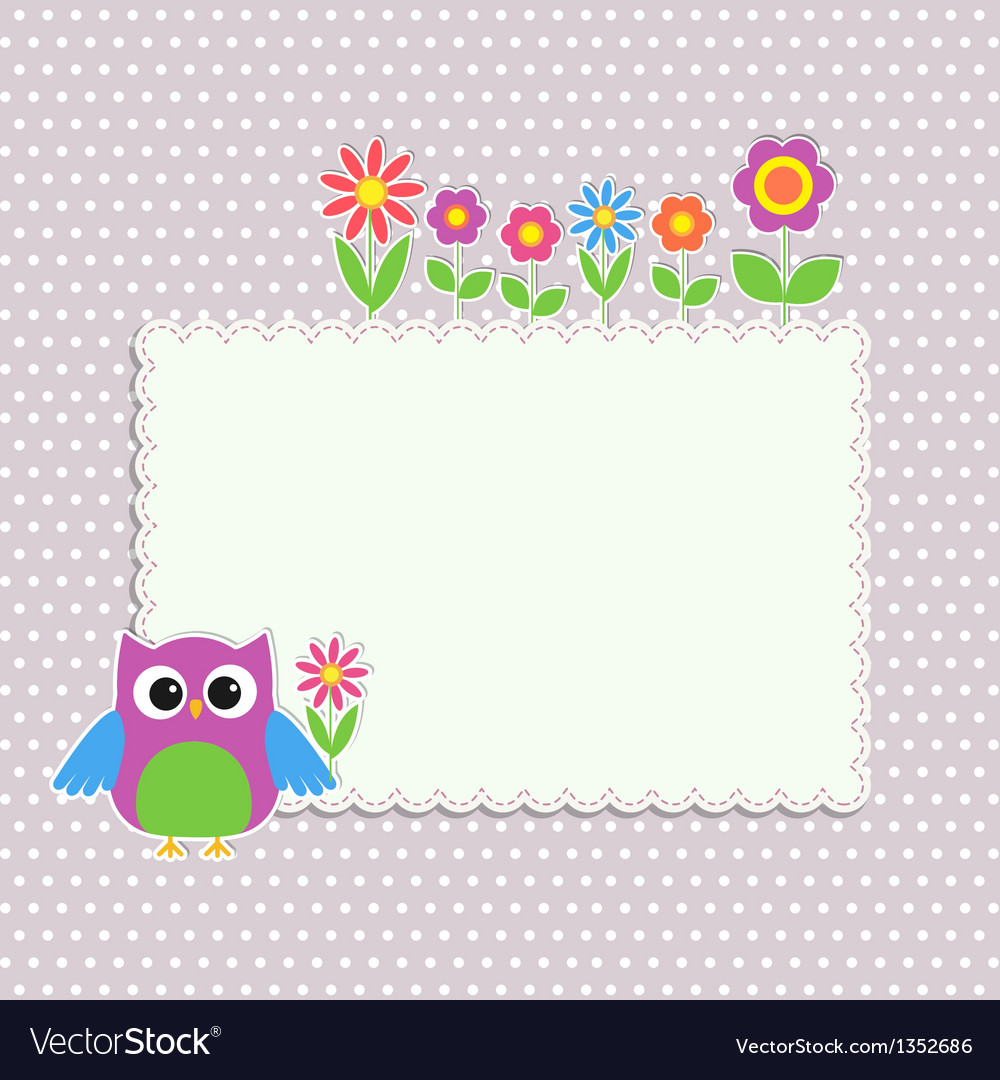 Frame with cute owl Royalty Free Vector Image - VectorStock