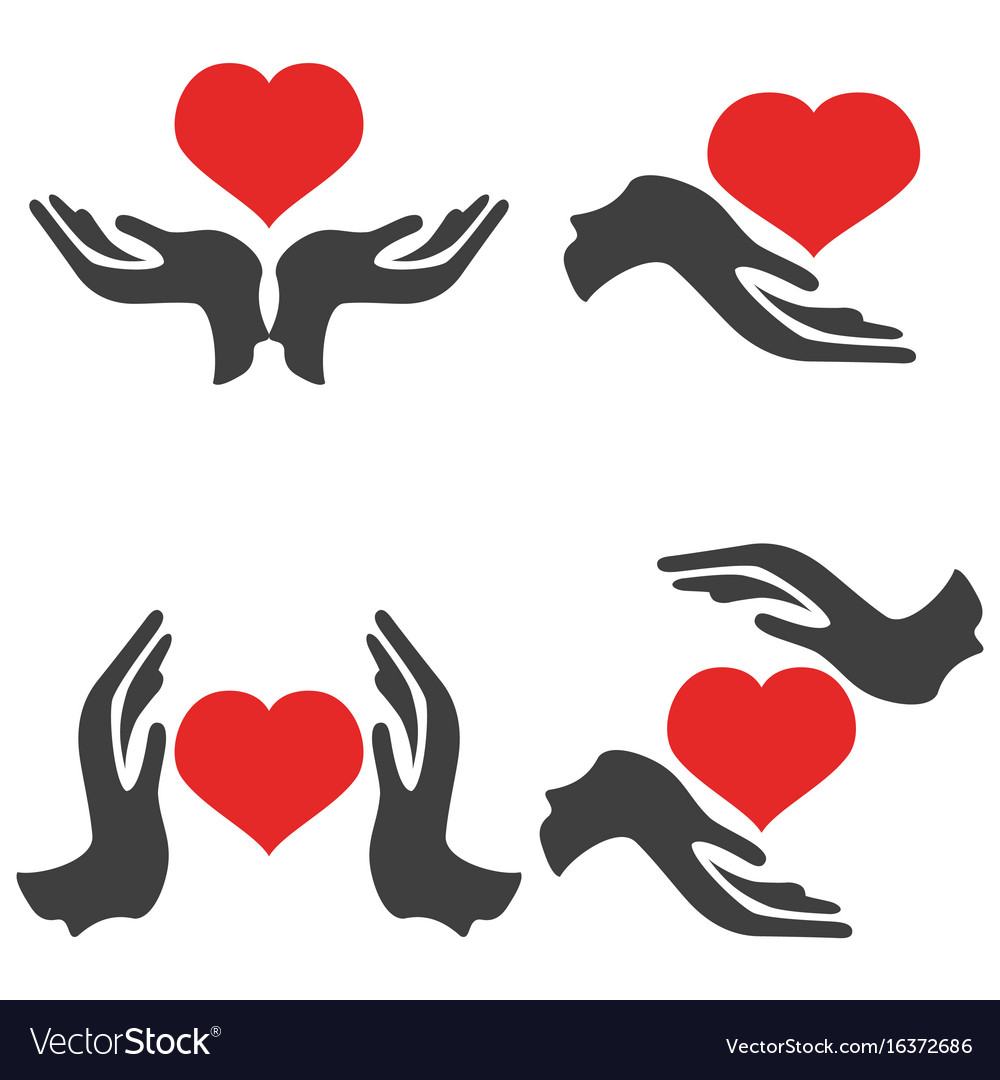 Hands hold heart icons vector image
