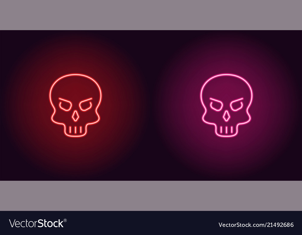 Human neon skull in red and pink color