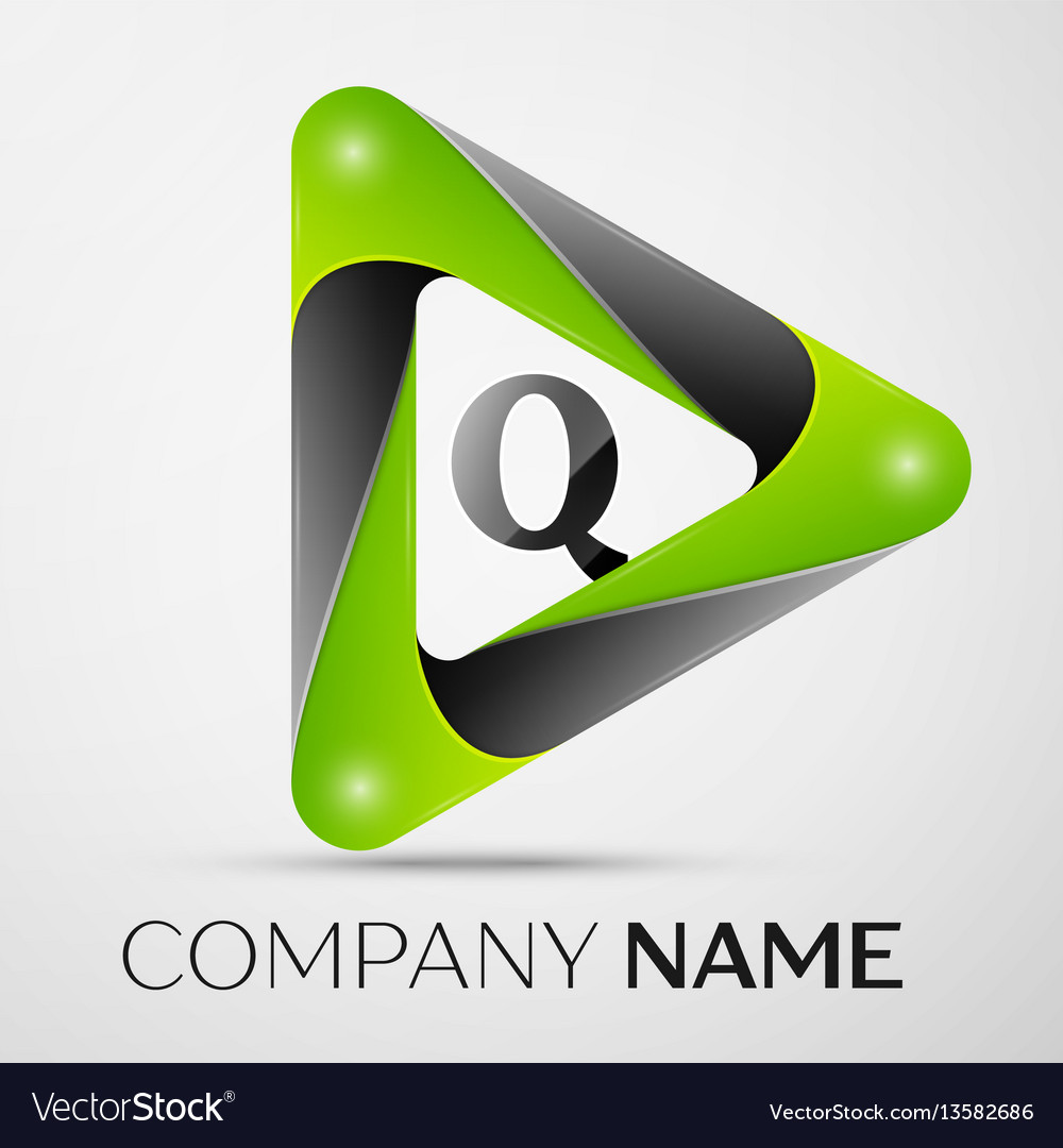 Letter q logo symbol in the colorful triangle on