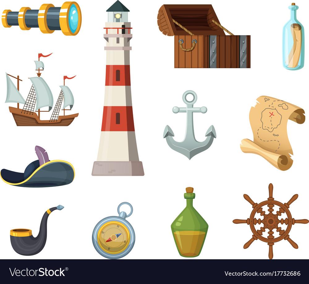Marine objects chest compass treasure