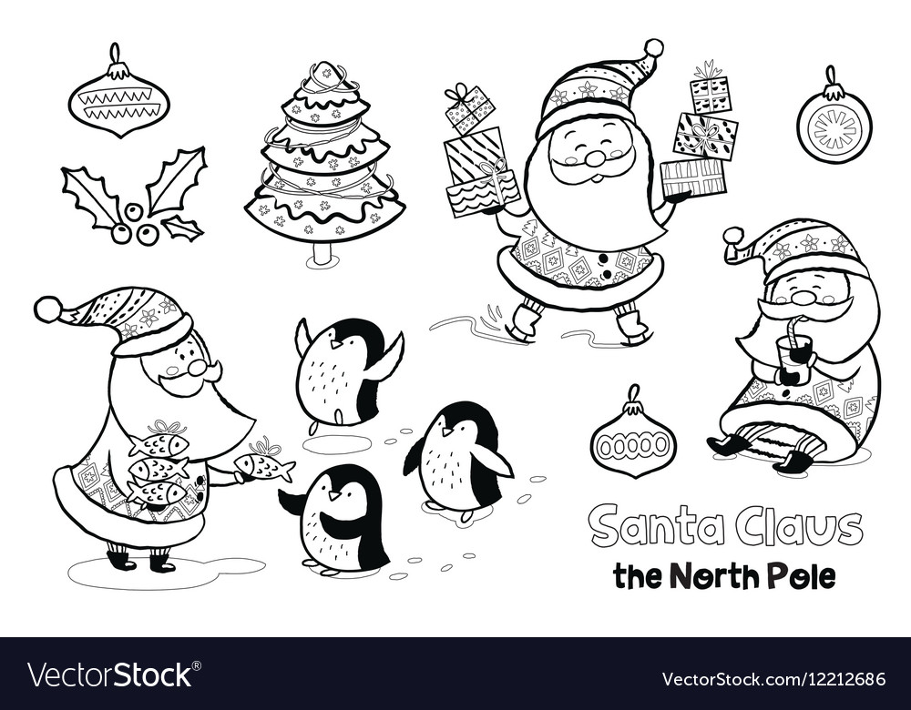 Outline set with santa claus