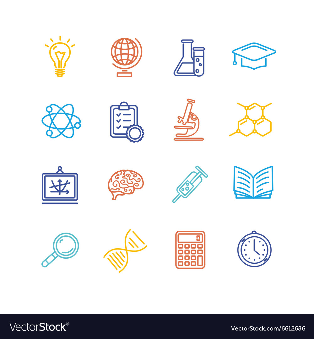 Science Outline Colorful Icons Set