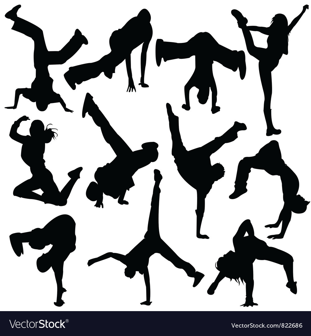 Silhouette break dance vector image