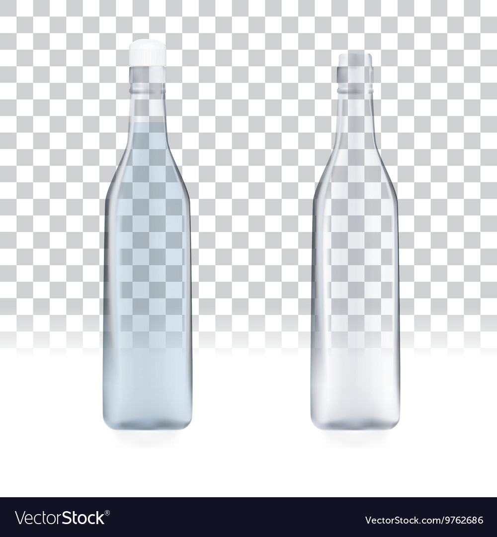 Transparent empty bottles vector image