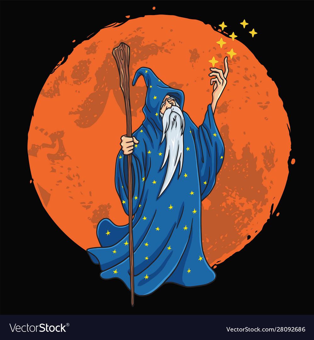 Wizard character design cartoon with moon