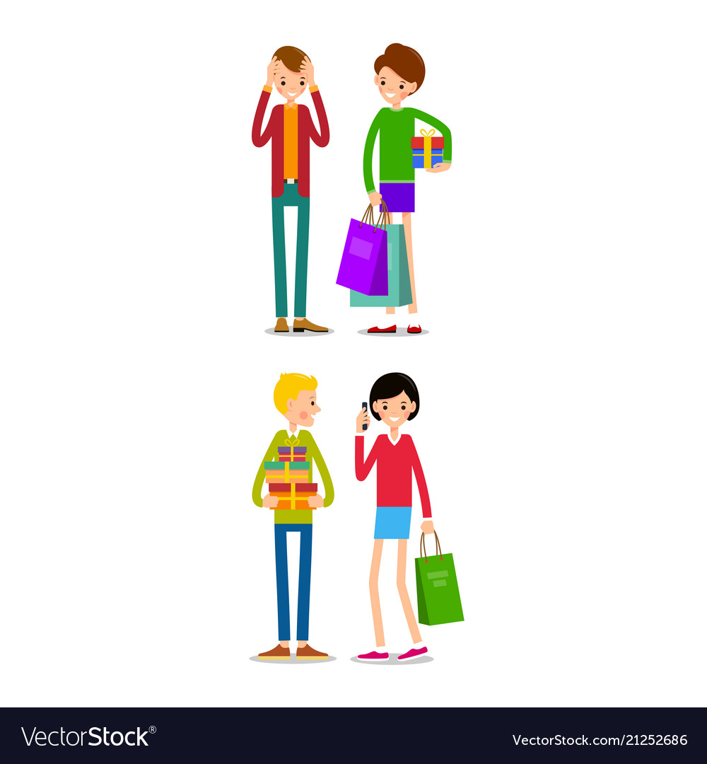 Woman and man with shopping bags young people