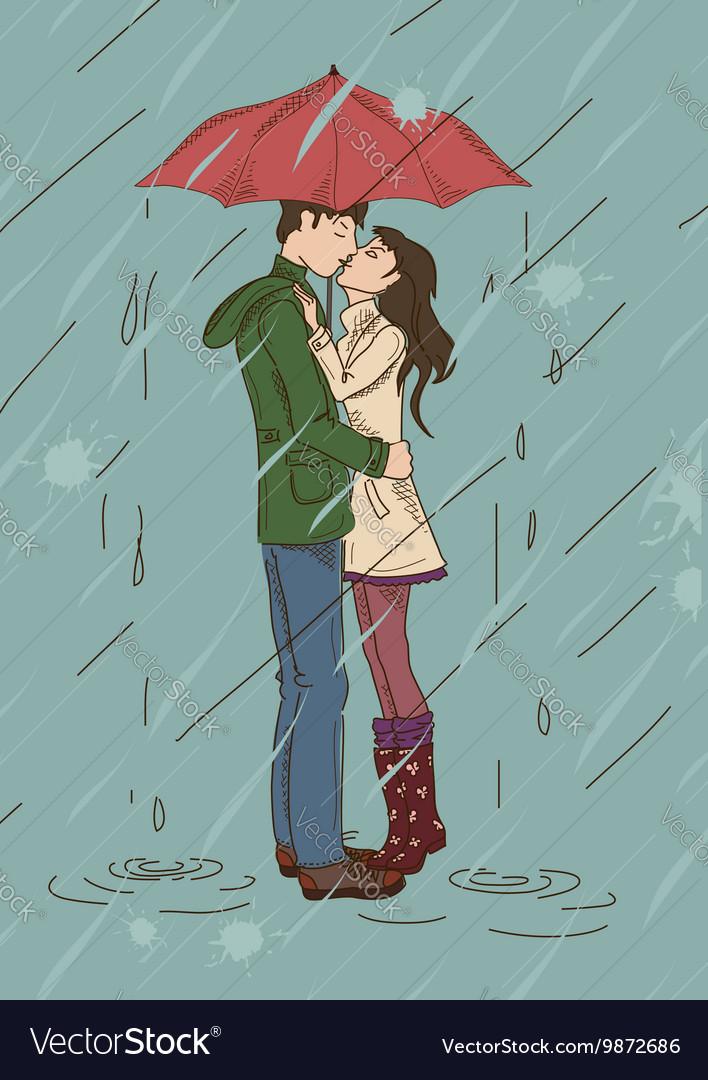 Couple Kissing Rain Vector Images 58