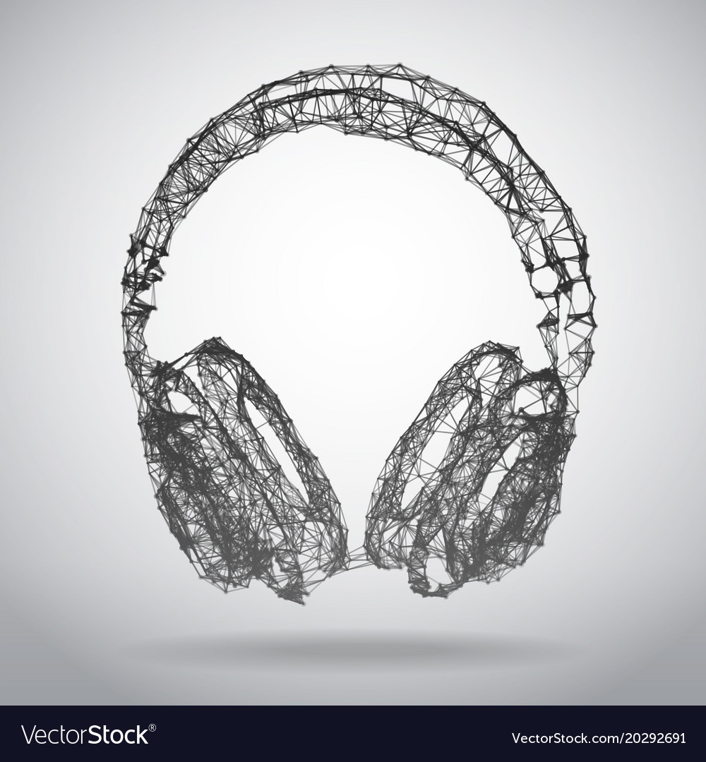 abstract polygonal headphones on white background vector image
