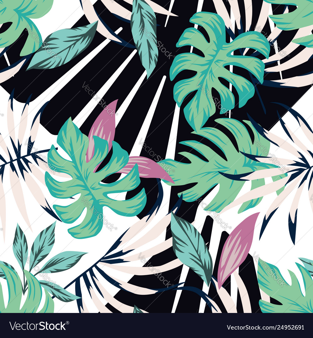 Abstract tropical pattern from leaves black white