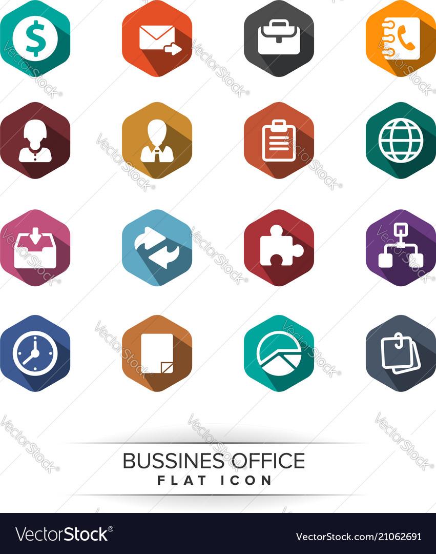 Basic business icon set flat long shadow style