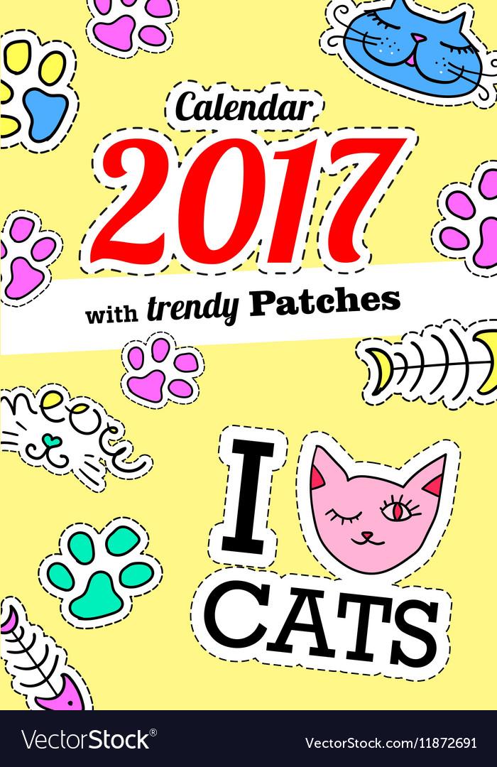 Calendar 2017 with cats In cartoon 80s-90s comic