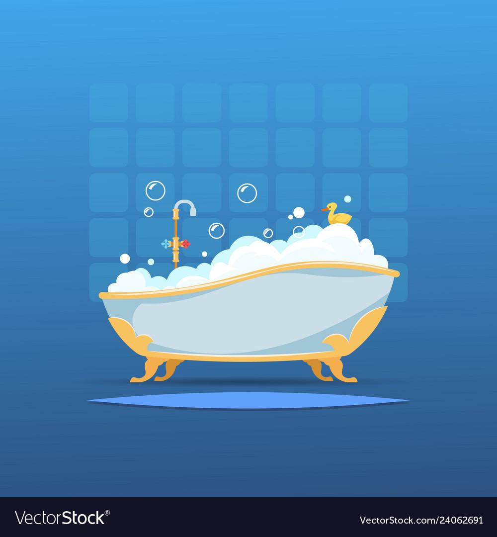 Cartoon bathtub bath bubble foam bathroom flat
