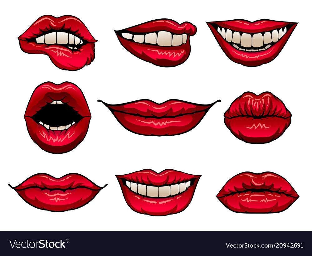 Flat set of female lips with bright red