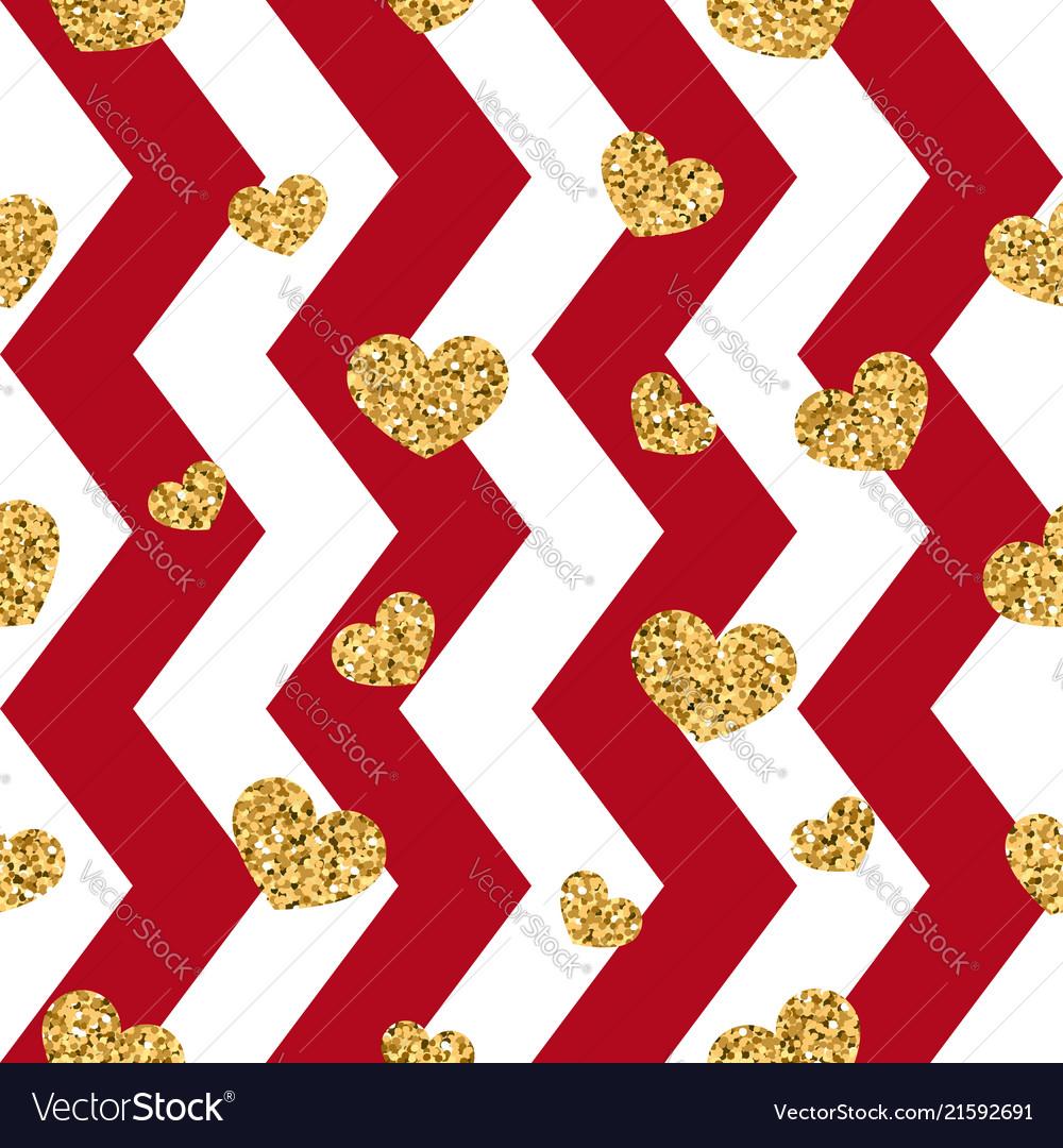 Gold heart seamless pattern red-white geometric