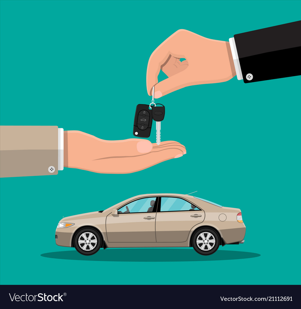 Hand Gives Car Keys To Another Hand Royalty Free Vector