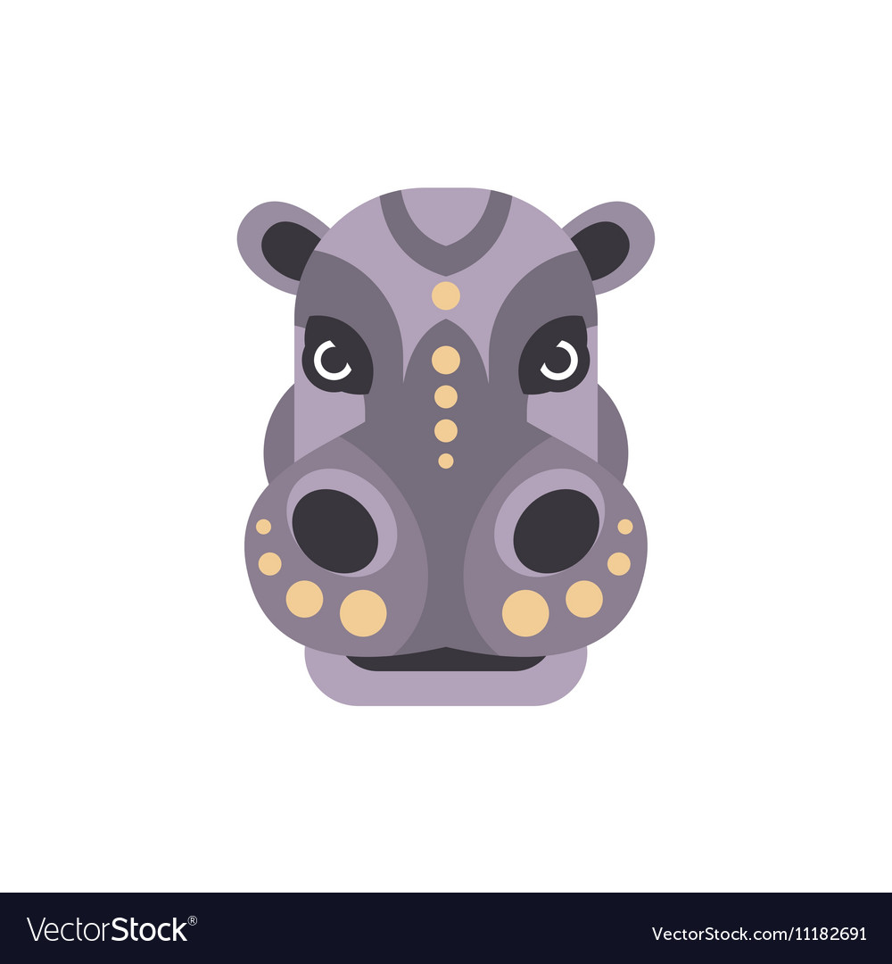 Hippo African Animals Stylized Geometric Head vector image