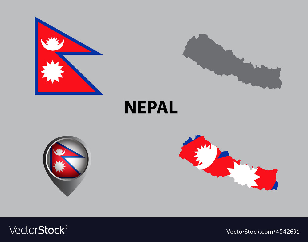 Map Of Nepal And Symbol Royalty Free Vector Image