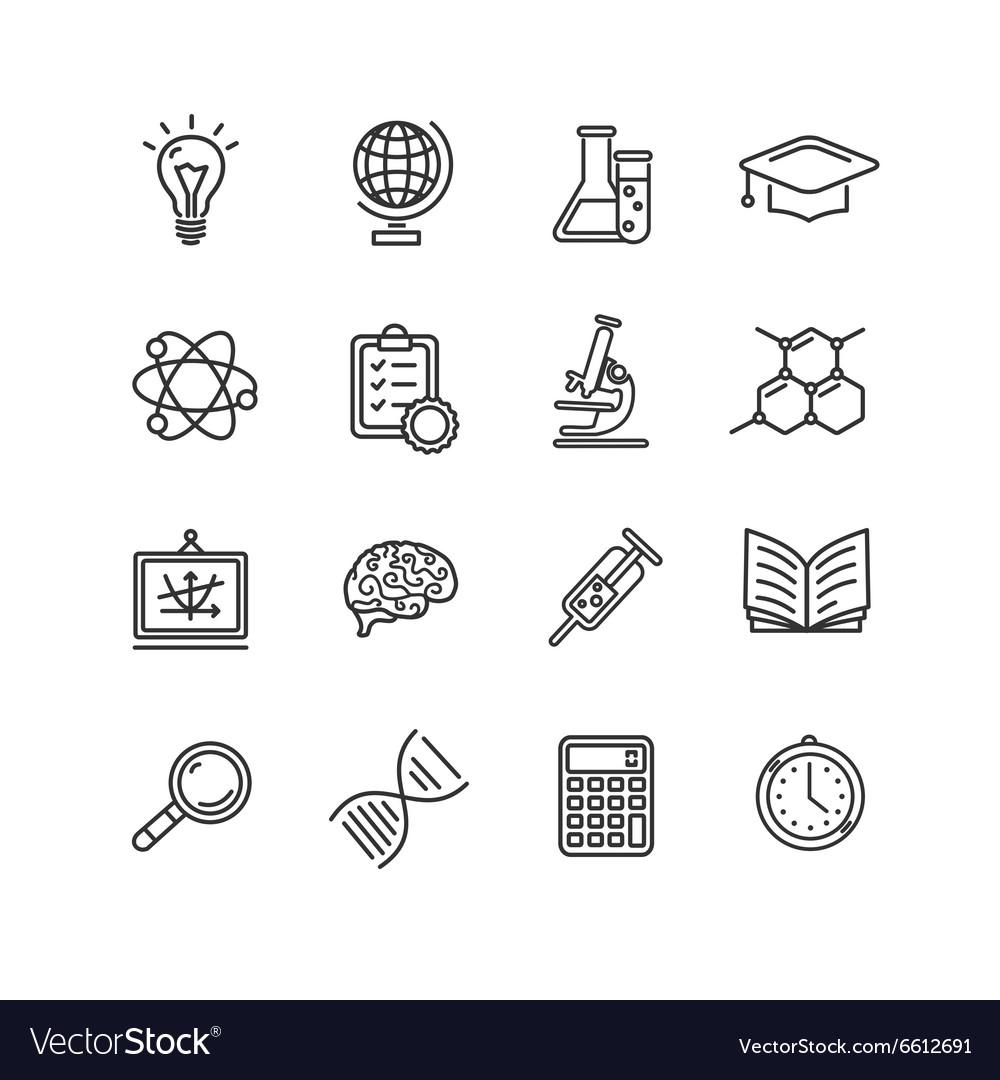 Science Outline Black Icons Set