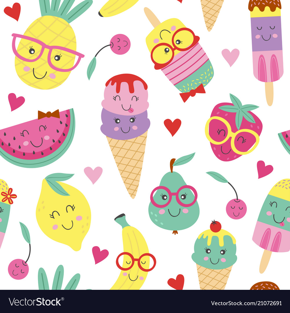 Seamless pattern with cute ice cream and fruits