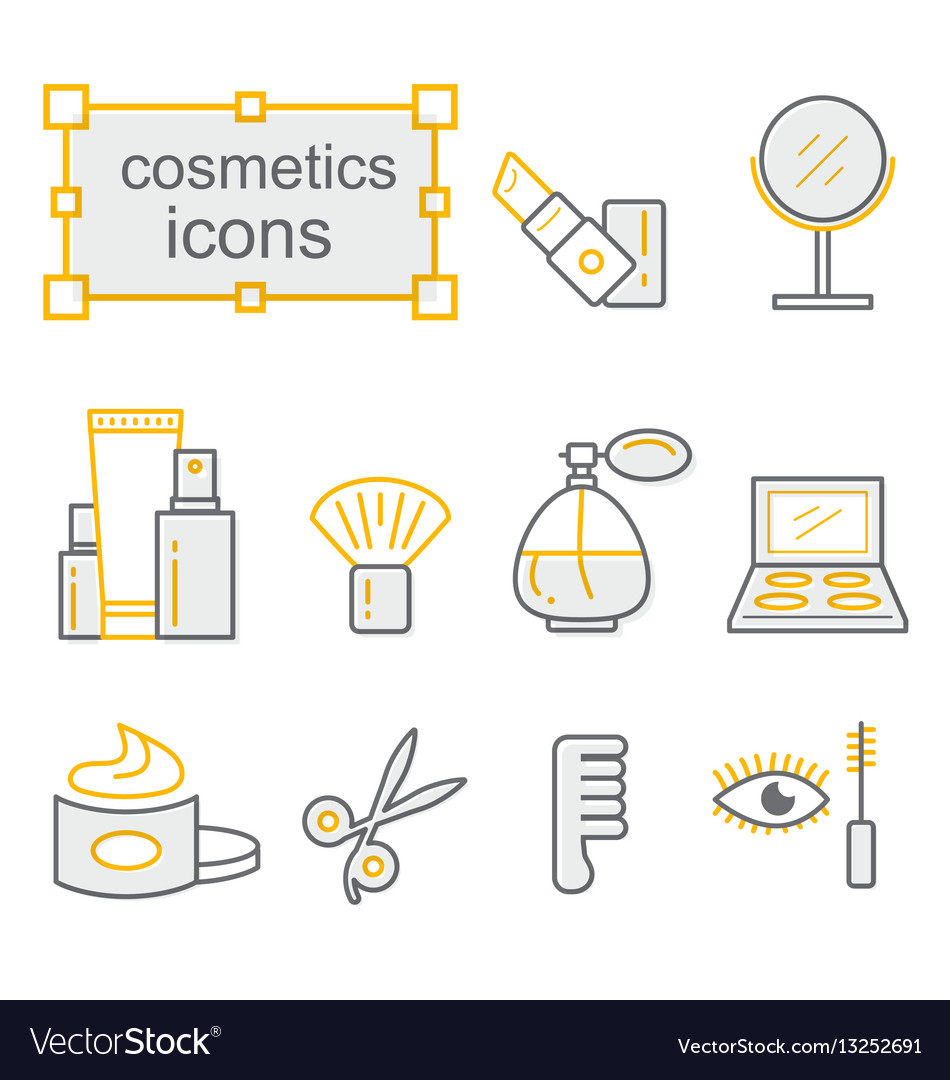 Thin lines icon set cosmetics