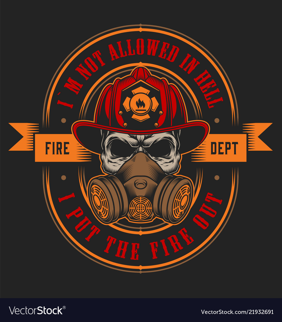 vintage firefighter colorful print template vector image