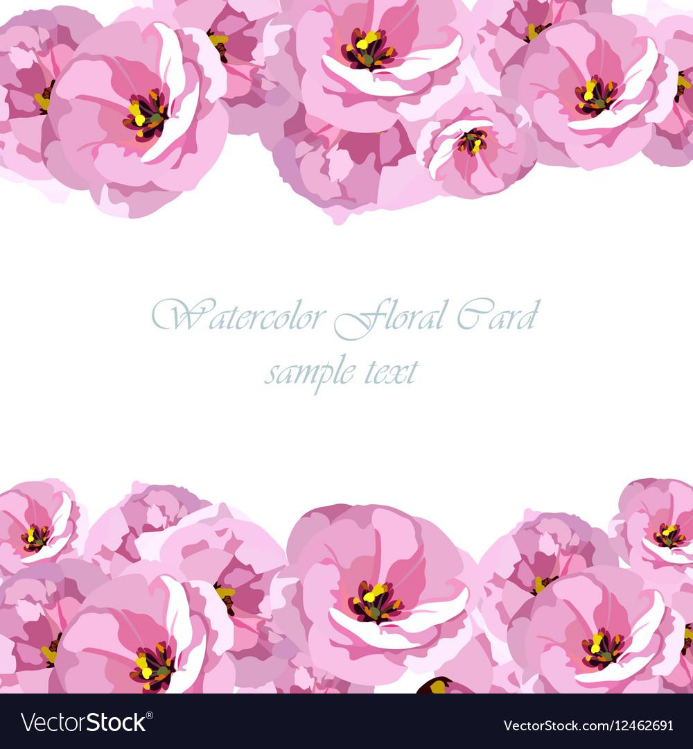 Watercolor Pink Rose flowers card