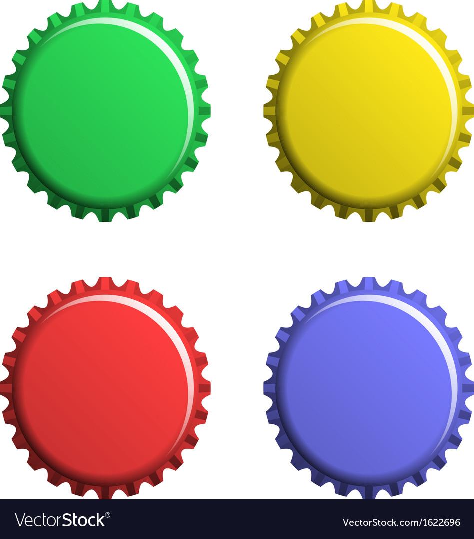 A set of bottle caps vector image