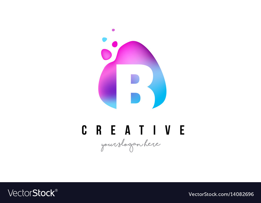 B letter dots logo design with oval shape