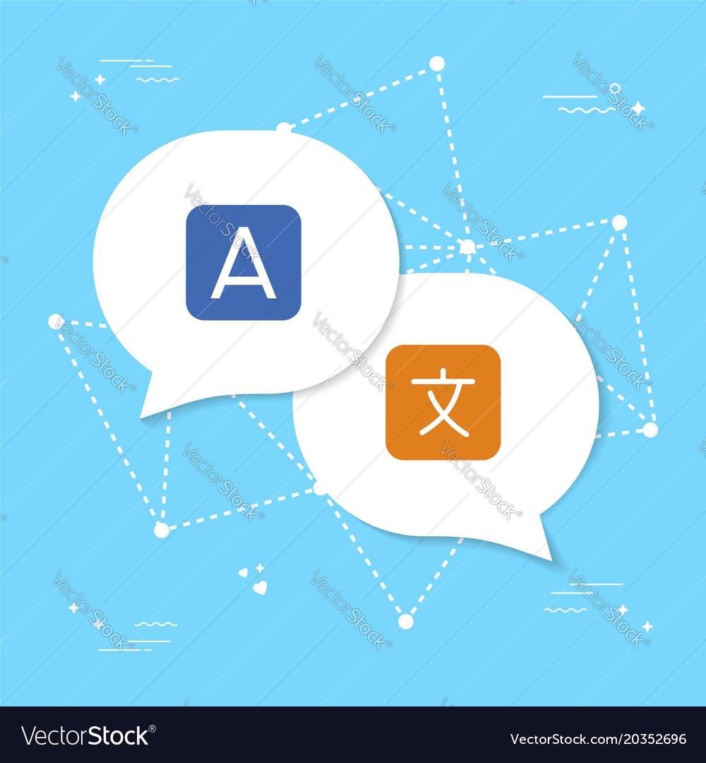 Chat bubble conversation translation concept