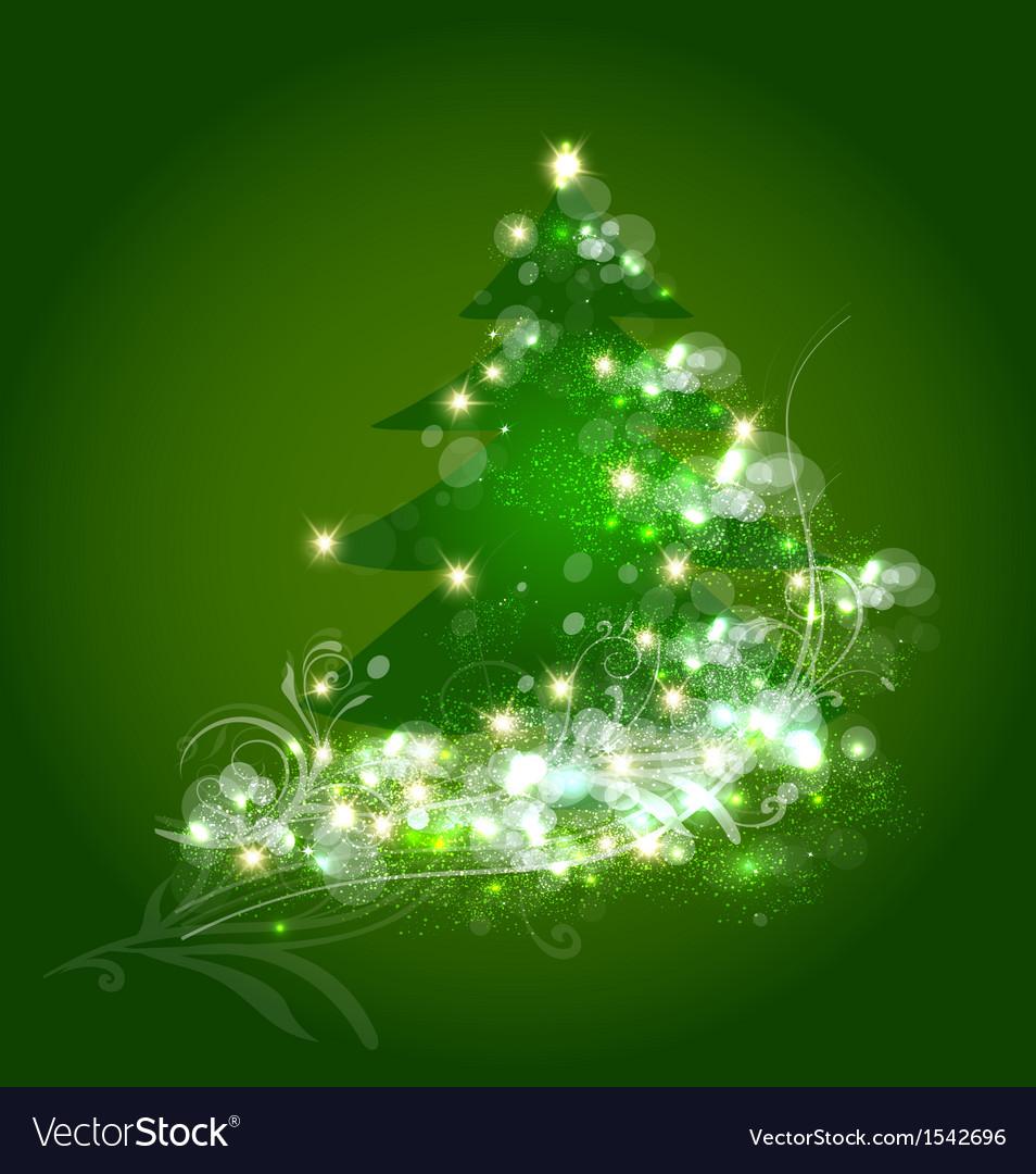 Christmas tree ornament card vector image