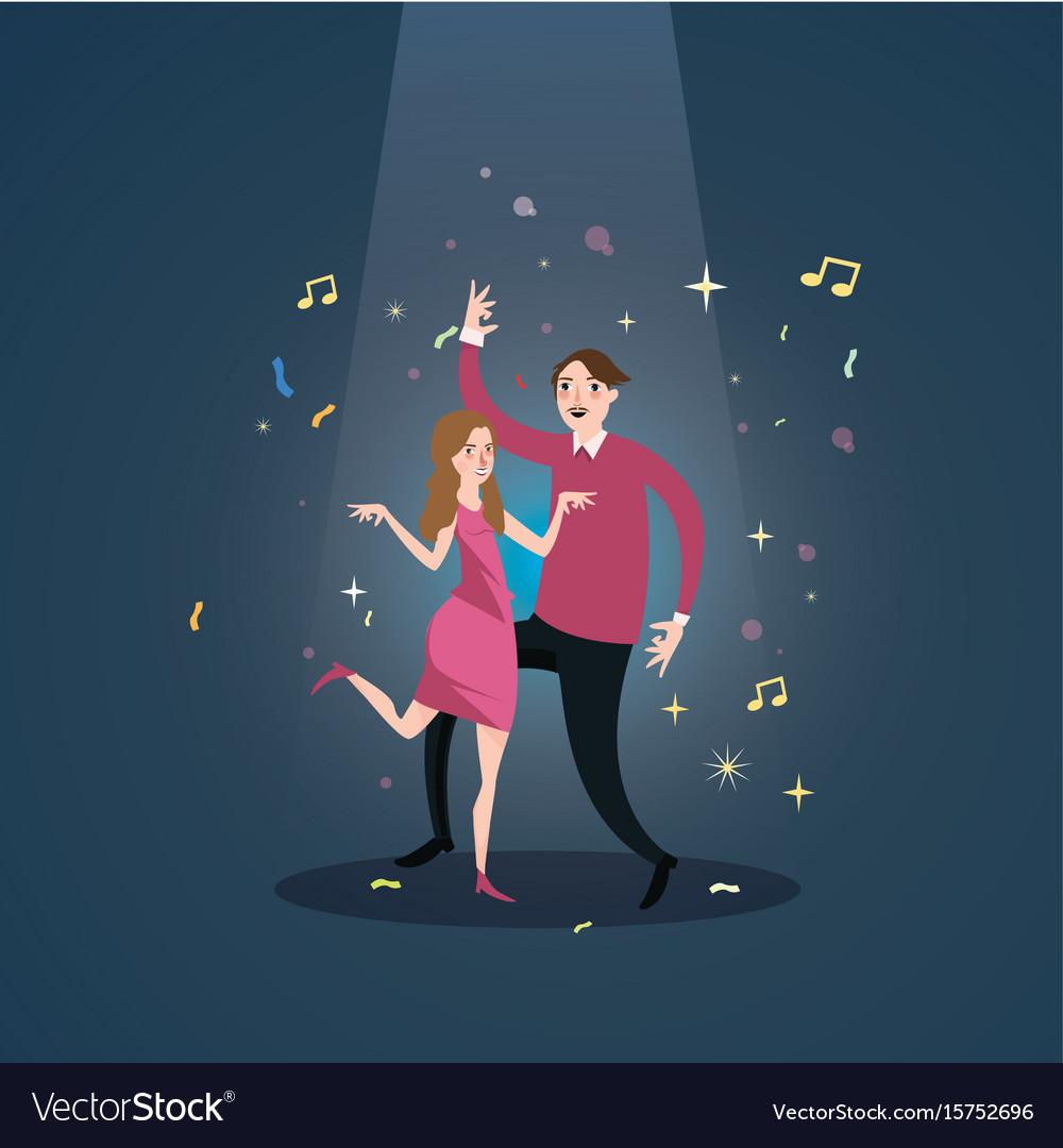 Couple dance together celebration under spot light