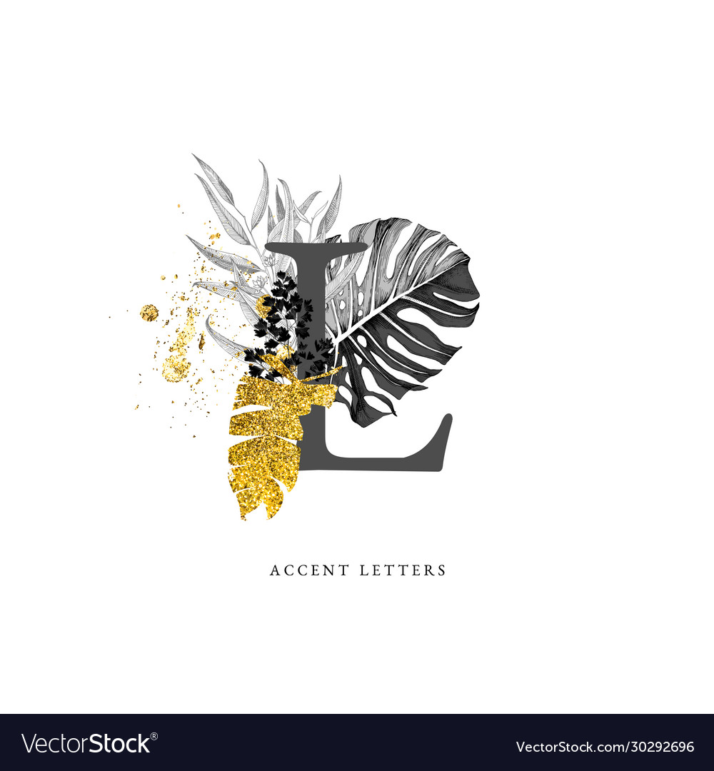 Decorated l letter with hand drawn tropical leaves