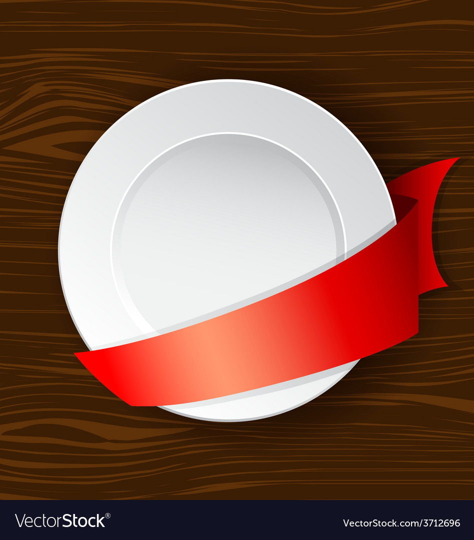 Dish with red ribbon