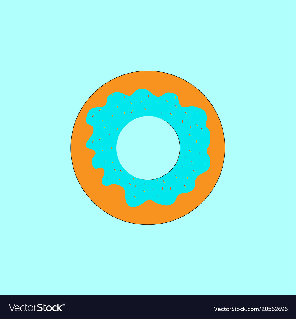 Donut with icing on blue turquoise background